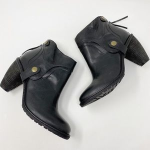 ANTHROPOLOGIE Skelly Leather Booties 7 Black Ankle